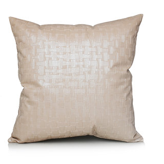 Jagdish Store Beige Geometric Faux Leather Cushion Cover