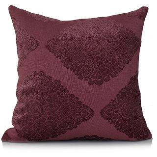 Jagdish Store Purple Self Design Velvet Cushion Cover