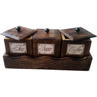 Hand Carved Tea, Sugar, Coffee Wooden Containers (Set Of 3) - The Woods Hut
