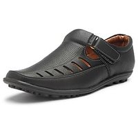 Stylemint Men Black Leather Sandals