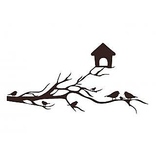 Asmi Collections PVC Wall Stickers Beautiful Brown Branches Nest Birds