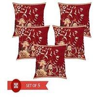 Homesazawat Designer Set Of 5 Cushion Cover (16'' X 16'')