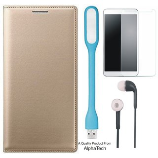 CoolPad Note 5 Preum Quality Leather Finish Flip Cover with Free Tempered Glass s and  LED Light by Alphatech