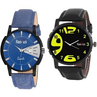 COMBO'S 2 PCS Radius Denim Analog Wrist Watch For Men R-1+9