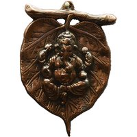 Metal Wall Hanging Of Lord Ganesha On Leaf