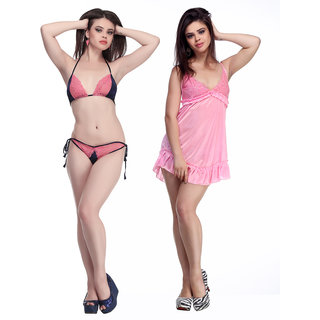 6710ef8c7bb60 Buy Belle Nuits Women s Satin Combo of Bra Panty Set and Short Nighty  Online - Get 65% Off