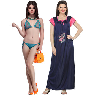 01e0fcb64a Buy Belle Nuits Women s Satin Combo of Long Nighty and Bra Panty Set ...