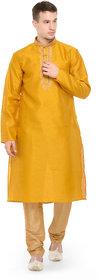 Rg Designers Gold Self Design Full Sleeves Kurta Pyjama Set