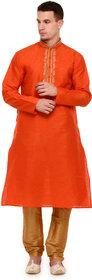 Rg Designers Orange Self Design Full Sleeves Kurta Pyjama Set