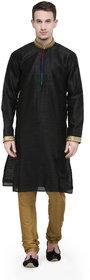 Rg Designers Black Buti Work Full Sleeves Kurta Pyjama Set