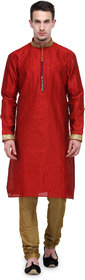Rg Designers Red Buti Work Full Sleeves Kurta Pyjama Set