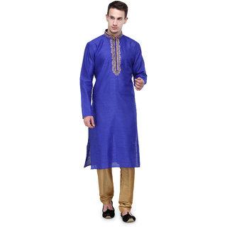 Rg Designers Royal Blue Self Design Full Sleeves Kurta Pyjama Set