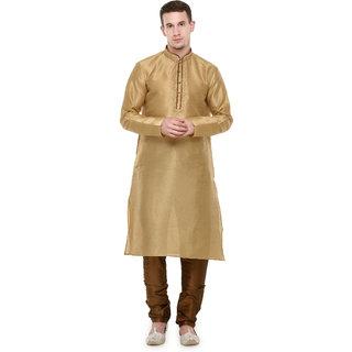 Rg Designers Beige Self Design Full Sleeves Kurta Pyjama Set