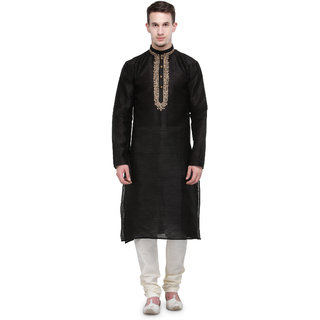 Rg Designers Black Self Design Full Sleeves Kurta Pyjama Set