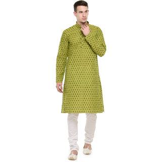 Rg Designers Green Self Printed Full Sleeves Kurta Pyjama Set