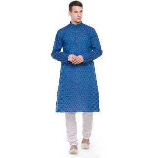 Rg Designers Blue Self Printed Full Sleeves Kurta Pyjama Set