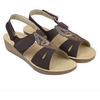 JPS TRADERS Brown Velcro Doctor Sole Sandals For Women/Girls