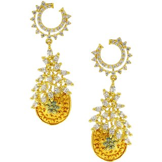 Anuradha Art Golden Colour Simple Stylish Wonderful Classy Traditional Earrings For Women/Girls