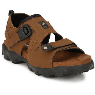 Shoegaro Tan Velcro Faux Suede TPR  Sandals For Men