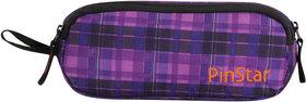 PinStar Dual Compartment Pencil Pouch V1  Tartan Purple OS