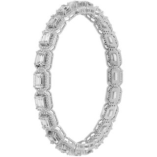 Joal Solitaire Collection White 925 Sterling Silver Cubic Zirconia Bangles
