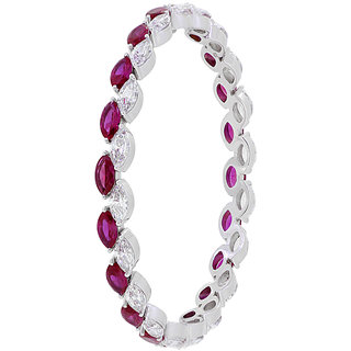 Joal Solitaire Collection Red 925 Sterling Silver Cubic Zirconia Bangles Fo