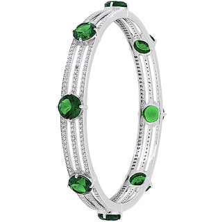 Joal Solitaire Collection Green 925 Sterling Silver Cubic Zirconia Bangles