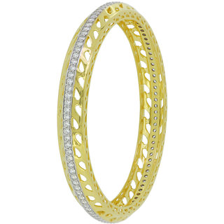Joal Solitaire Collection Yellow 925 Sterling Silver Cubic Zirconia Bangles