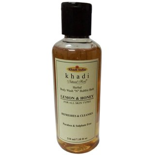Khadi Lemon  Honey Body wash N  Bubble Bath (Paraben  sulphate Free) 210ml