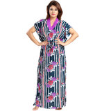 9a4bb332c2 Be You Fashion Serena Satin Midnight Blue Floral Stripes Printed Kaftan  Nightgown for Women