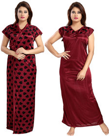 Be You Fashion Satin Maroon Hearts Printed 2 piece Nighty Set for Women