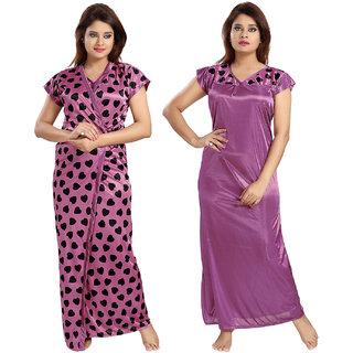 Be You Fashion Satin Purple Hearts Printed 2 piece Nighty Set for Women