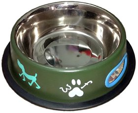 Petshop7 Green 500 ML Small Dog Bowl Stainless Steel Feeding Bowl