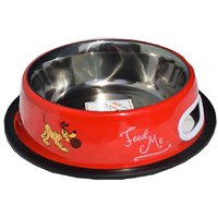 Petshop7 Red 500 ML Small Dog Bowl Stainless Steel Feed
