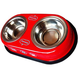 Petshop7 Red 950 Ml Dog Bowl Double Dinner Set Stainless Steel Feeding Bowl
