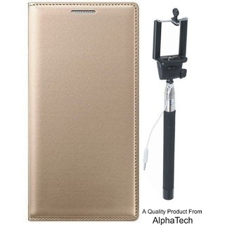 Alphatech Preum Quality ather Finish Flip Cover for Vivo Y55 ith Free Selfie Sti