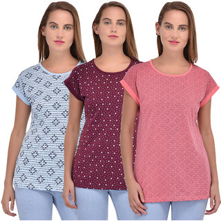 TAB91 Women's Cotton Printed Top Combo - Pack of 3