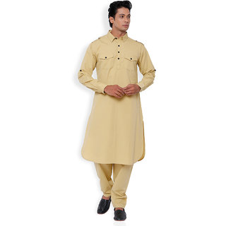 Svanik White Solid Cotton Long Pathani Kurta Salwar Suit.