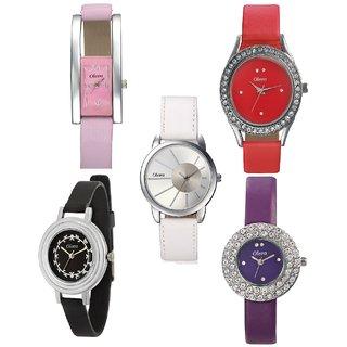 Oleva Ladies Leather Watch Set of 5 Combo OSC-24