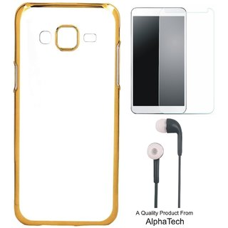 Alphatech Preum Quality Chrome Tpu Back Cover for  J7 Prime SM-G610F ith Golden Ectroplated Edges ith Free Earphes and  Glass