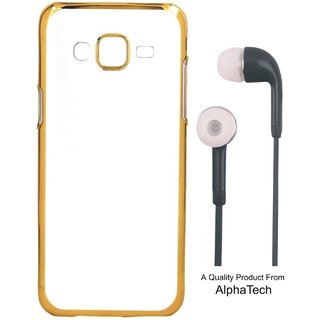 Alphatech Preum Quality Chrome Tpu Back Cover for Mola Moto G4 Plus 4th Gen ith Golden Ectroplated Edges ith Free Earphes