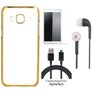 Alphatech Preum Quality Chrome Tpu Back Cover for novo A6600 ith Golden Ectroplated Edges ith Free Earphes  Glass and  Cab