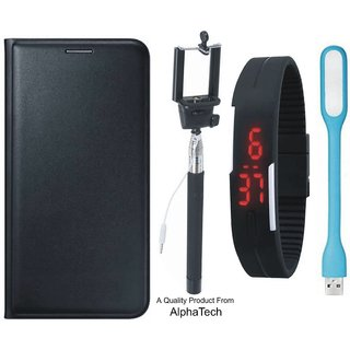 Alphatech Preum Quality ather Finish Flip Cover for Vivo Y55 ith Free Selfie Sti Digtal atch and  D Light