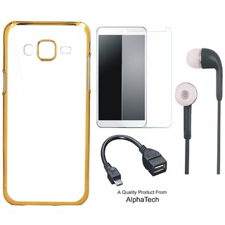 Alphatech Preum Quality Chrome Tpu Back Cover for novo A6600 ith Golden Ectroplated Edges ith  Glass Earphes and  Cab