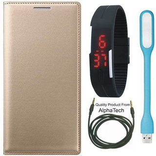 Alphatech Preum Quality Leather Finish Flip Cover for  J5 Prime SM-G570F with Free Digital Watch  LED Light and AUX Cable