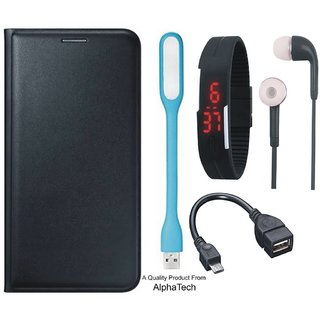 Alphatech Preum Quality Leather Finish Flip Cover for CoolPad Note 5 with Free Digital Watch s  LED Light and OTG Cable
