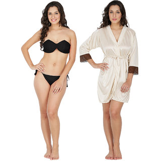d775f3ae5f Klamotten Multicolor Satin Plain Nightwear and Bikini Set Combo 221K-209CRM