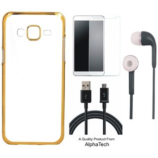 Alphatech Preum Quality Chrome Tpu Back Cover for novo K6 Poer ith Golden Ectroplated Edges ith Free  Glass Earphes and  Cab