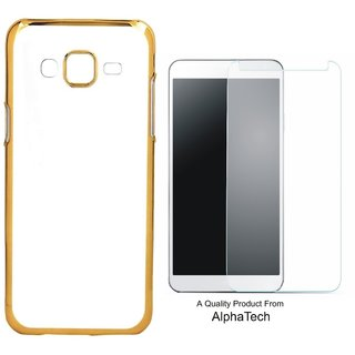 Alphatech Preum Quality Chrome Tpu Back Cover for novo K6 Poer ith Golden Ectroplated Edges ith Free  Glass