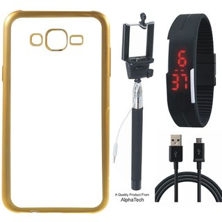Alphatech Preum Quality Chrome Tpu Back Cover for novo K6 ith Golden Ectroplated Edges ith Free  Digtal atch and  Cab
